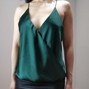 Akira Red Label silky green camisole blouse